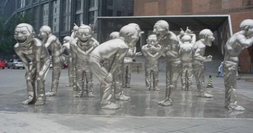 Laughing Men, sculpture by Yue Minjun, Today Art Museum, Beijing