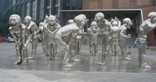 Laughing Men, sculpture by Yue Minjun, Today Art Museum, Beijing